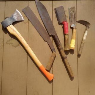 【受け渡し者決定】ノコギリ、ナタ、鎌、斧など6本セット