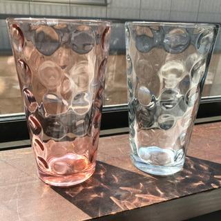 ガラス製☆水玉模様ピンク&ブルー2個セット
