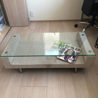 スウェード&ガラス ローテーブル