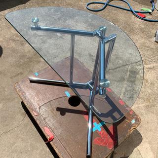 半円ガラステーブル サイドテーブル 強化ガラス