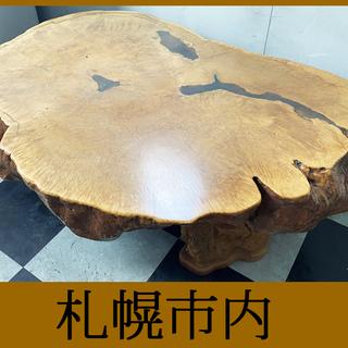札幌 ■ 天然杢 総一枚板 幹 天板 / 重厚 10cm◆ 12...