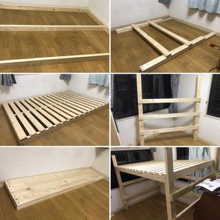 【配送可能】超希少 木製 ロフトダブルベッド DIYしました。分...
