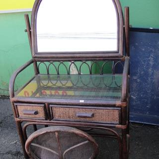 籐製ドレッサー 椅子付き 鏡台 化粧 メイク