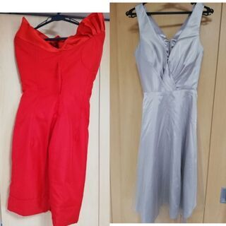 赤 シルバー ドレス