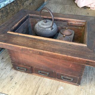 囲炉裏 江戸火鉢 鉄瓶 銅釜 五徳兼徳利燗付 アンティーク レトロ品