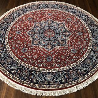 イラン製 ウィルトン織 アクリル 円形 250cm 赤
