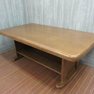 ss1017 木製 センターテーブル ブラウン マガジンラック付...