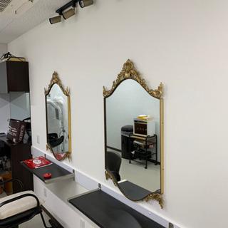 アンティーク 壁掛 鏡2枚✯ ゴールド