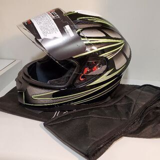 フルフェイスヘルメット ブラック×グリーン 新品 Lサイズ