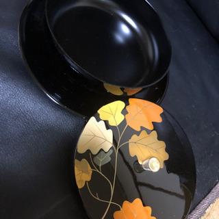 菓子器 おぼんつき 新品未使用 葉っぱ柄