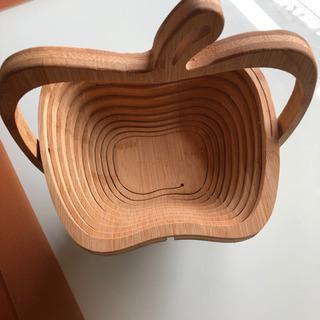 鍋敷 小物入れ 木製アップル型