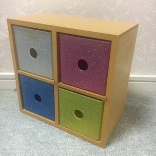 木製 × キラキラプラケース 収納ボックス 引き出しタイプ