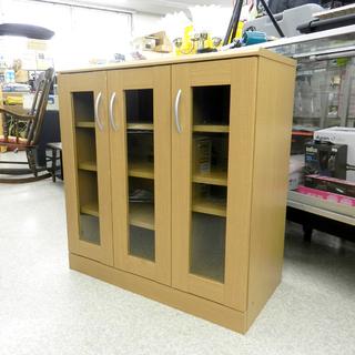 食器棚 幅78cm 高さ82.5cm 3枚扉 4段 キッチン収納...