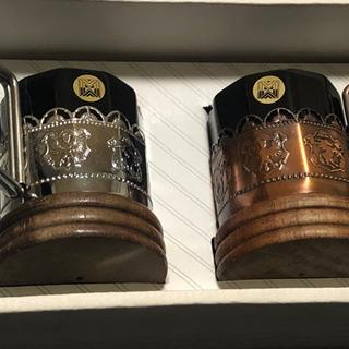 【昭和レトロ】木製台のコーヒーカップ ペアセット