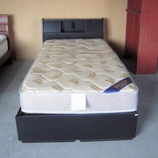 シングルベッド マットレス 引き出し 宮棚付き 木製 黒 収納付...