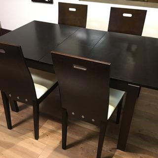 【お引き渡し決定】伸縮式ダイニングテーブルセット W120〜W150
