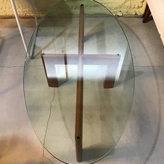 ✨🔔期間限定・特別価格🔔✨楕円ガラスローテーブル アジアンテイス...