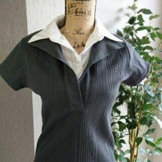 【未使用品】レディースニットシャツ(重ね着風)