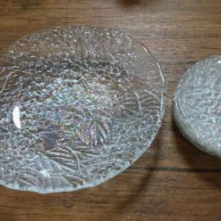HOYAクリスタルガラス/あじさい模様/盛大皿/小皿のおまけ付き
