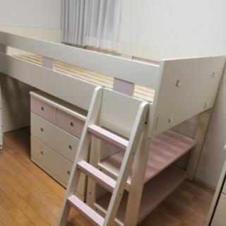 コイズミ システムベッド 収納チェスト 学習机&椅子(ライト付き)