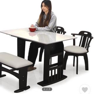取引中 ダイニングテーブルセット 4点 4人 伸縮 ベンチ モダ...