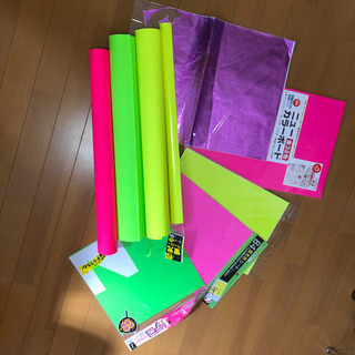 蛍光 ペーパー 模造紙 シール カラーボード 手作り団扇