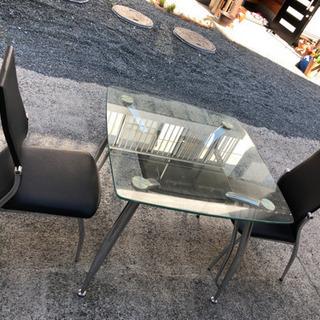 ガラステーブル 椅子2脚