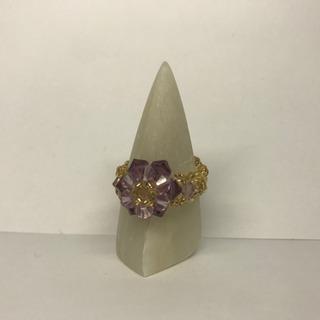 ビーズ指輪 黄色&紫花