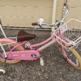 補助輪つき自転車  16型  ピンク