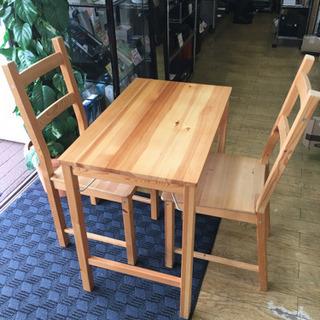 相場高騰! 無印良品+IKEA 折り畳みテーブル&チェア2脚セッ...