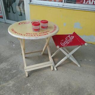 コカ・コーラ 木製 テーブル チェア セット