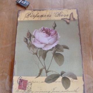 未使用品 ブリキ製のプレート(薔薇)