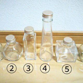 ハーバリウム 瓶 色々あります六角、四角、丸円柱瓶 しずく パルファム