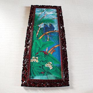 バリ絵画・花鳥風月アート:スミレコンゴウインコのブルーがステキで...