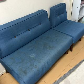 値下げしました!汚れ落ちないので…3人掛けソファー ブルー