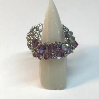 ビーズ指輪 紫