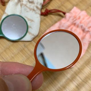 小さな手鏡 朱 - 生活雑貨
