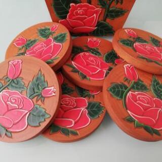(取引完了)新品薔薇の絵柄コースター6枚