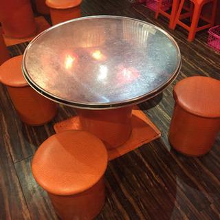 ご好評につき残り2セット!!韓国式焼肉テーブルセット(椅子4脚付き)