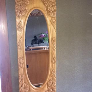 手作り木彫りの鏡 特大。