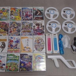 Wii マリオカート どうぶつの森 など ソフト16本 周辺機器...