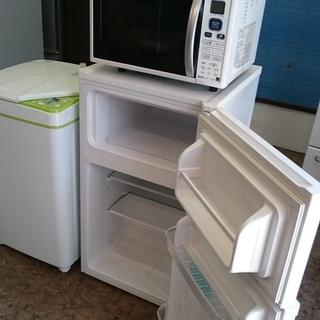 お買い得!!4点セット!!ハイアール JR-91J 2ドア冷凍冷蔵庫91L 2014年製・ハイアールJW-K33F全自動洗濯機3.3K 2013年製・シャープ RE-CE80KB 電子レンジ2011年製・山善 YTA-860 オーブントースター 2018年製の画像