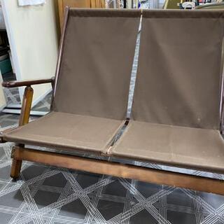 折り畳み2人掛けソファー メーカー不明  ブラウン