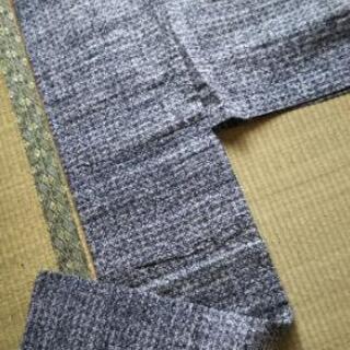👘 男性用 浴衣 手縫い  途切れ格子暈し柄  綿100%