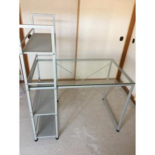 天板ガラス パソコン&ワーキングテーブル(コンパクト)