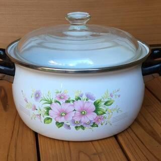 ホーロー鍋 花柄 ピンクの花が可愛い ガラス蓋つき鍋 硝子ふた付...