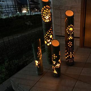 竹灯篭 ledキャンドルリモコン付きセット