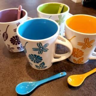 マグカップ全4色4個set (各スプーン付)