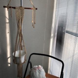 陶器のプランターカバー3個&プランターハンガ-