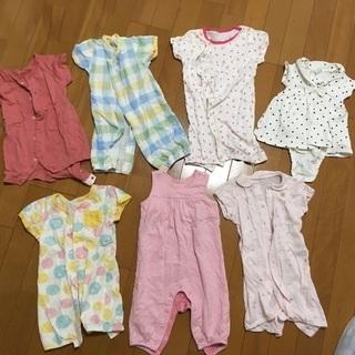 新生児サイズロンパース 夏服 女の子向け 7枚セット